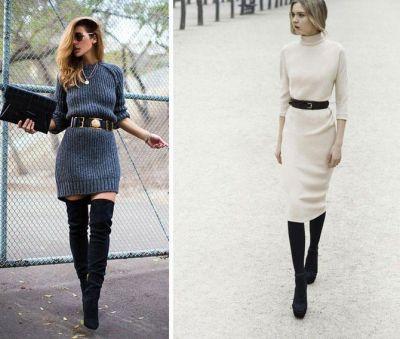 Платье -свитер с чем носить. Тренд