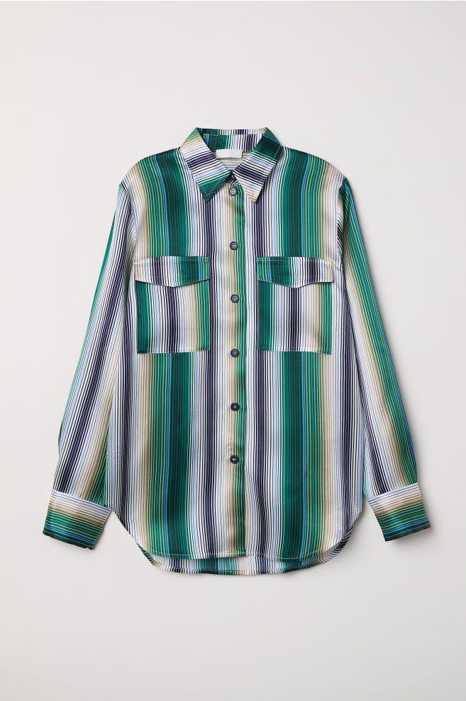 Рубашка шелковая в полоску