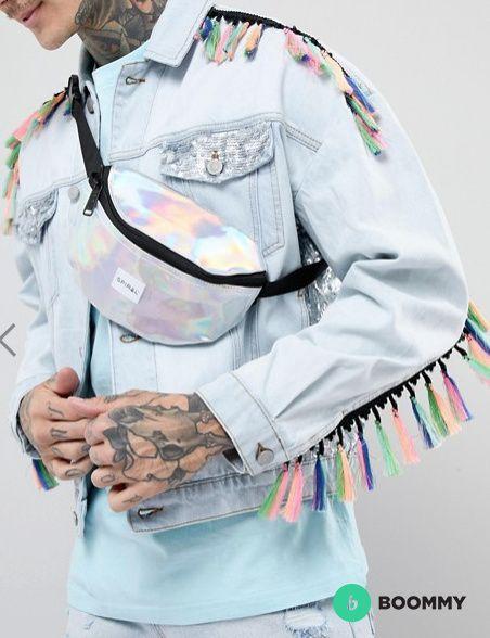 Серебристая сумка-кошелек на пояс Spiral