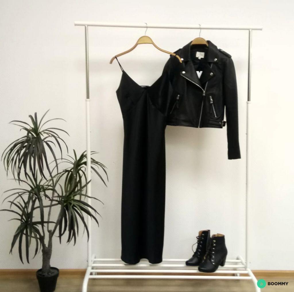 Черное вечернее платье комбинация
