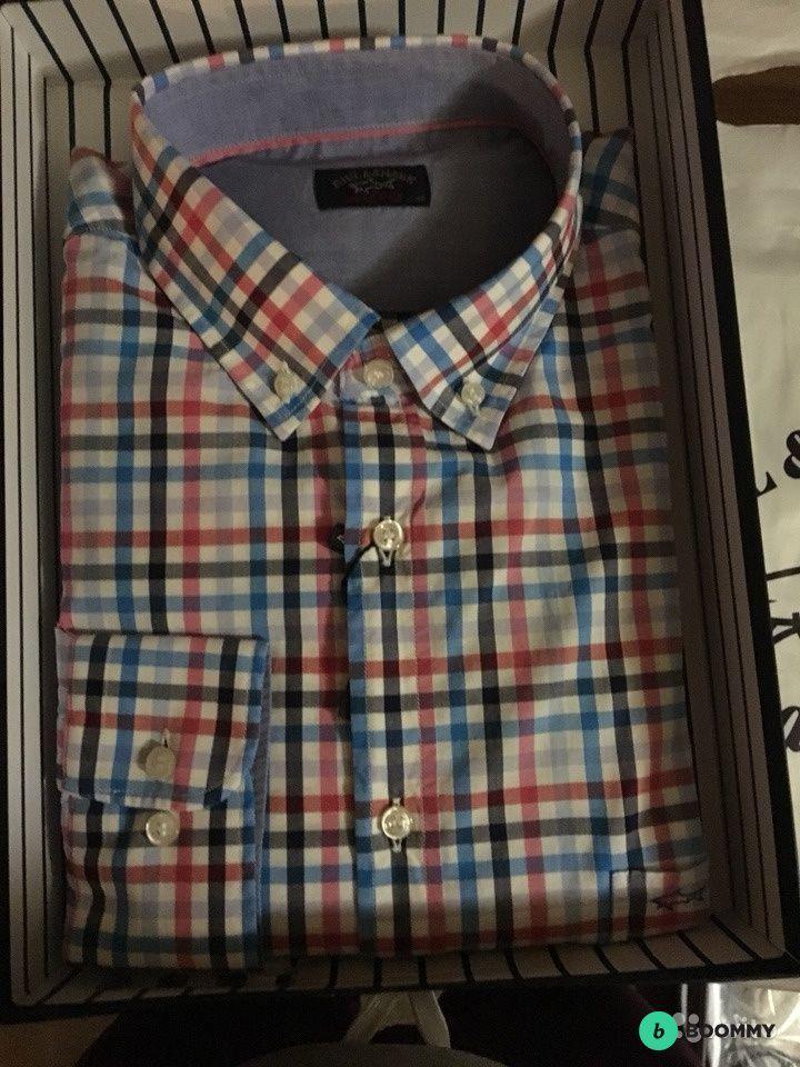 Рубашка мужская в клетку, 100% хлопок, Италия