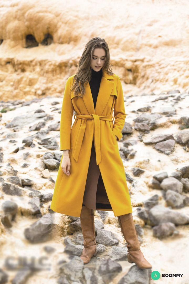 Новое женское пальто горчичного цвета