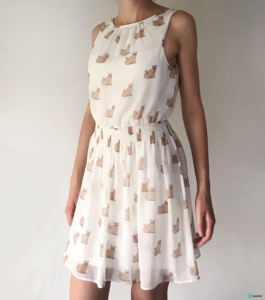 Платье ZARA с кошечками как нежное лето с открытой спиной