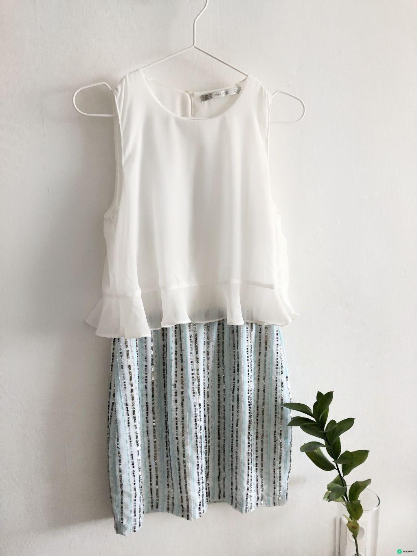 Платье ZARA с паетками пастельного бирюзового