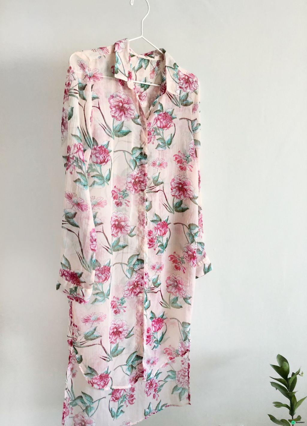 Туника-платье полупрозрачная в цветочек розовая