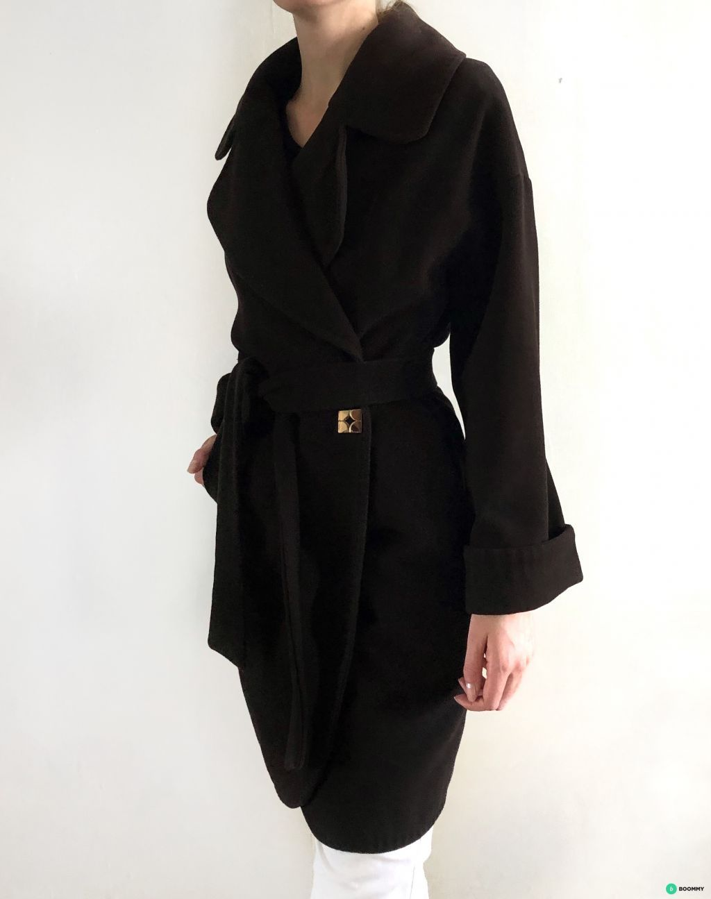 Шерстяное осеннее коричневое пальто рукав реглан