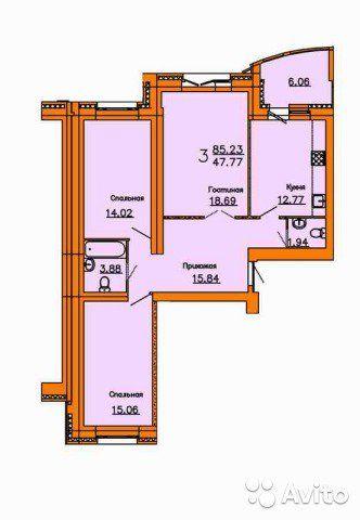 3-к квартира, 91 м², 8/14 эт.