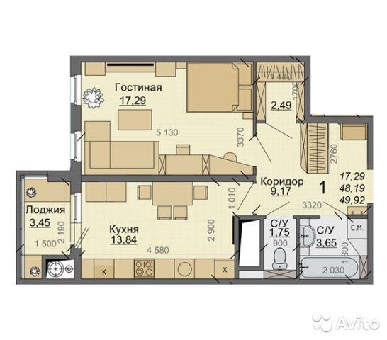 1-к квартира, 50 м², 10/18 эт.