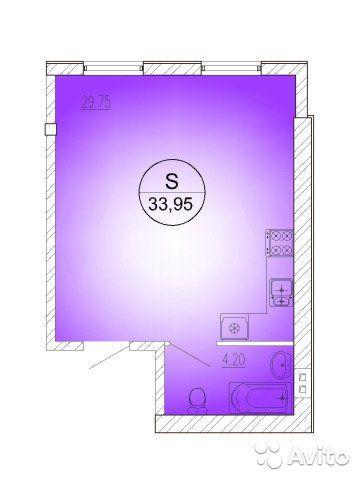 Студия, 34 м², 4/4 эт.