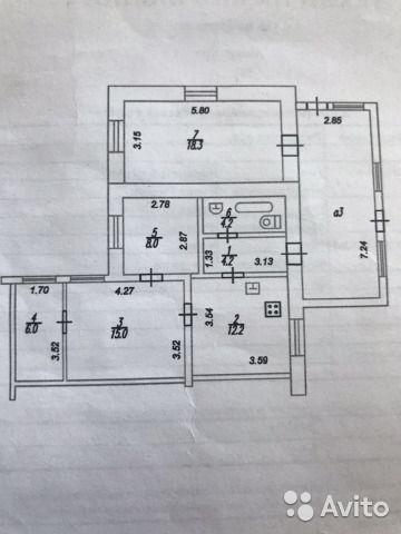 4-к квартира, 80 м², 1/1 эт.