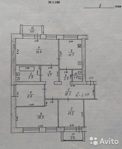 4-к квартира, 97 м², 2/3 эт.