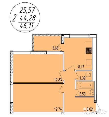 2-к квартира, 46 м², 1/4 эт.