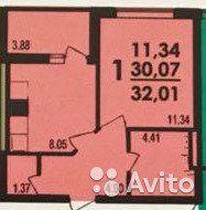 1-к квартира, 32 м², 3/4 эт.