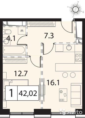 1-к квартира, 42 м², 27/30 эт.