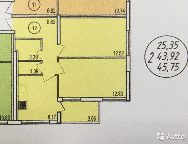 2-к квартира, 47.4 м², 3/4 эт.