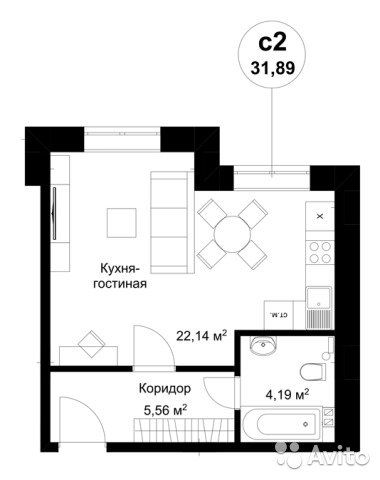 1-к квартира, 31.4 м², 1/3 эт.