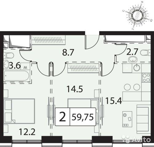 2-к квартира, 60 м², 25/30 эт.
