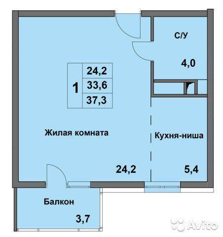 1-к квартира, 37.3 м², 6/8 эт.