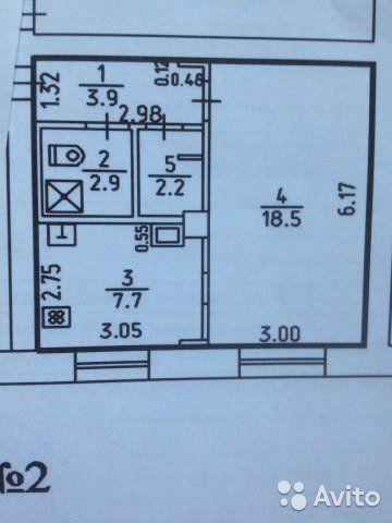 1-к квартира, 36 м², 1/2 эт.