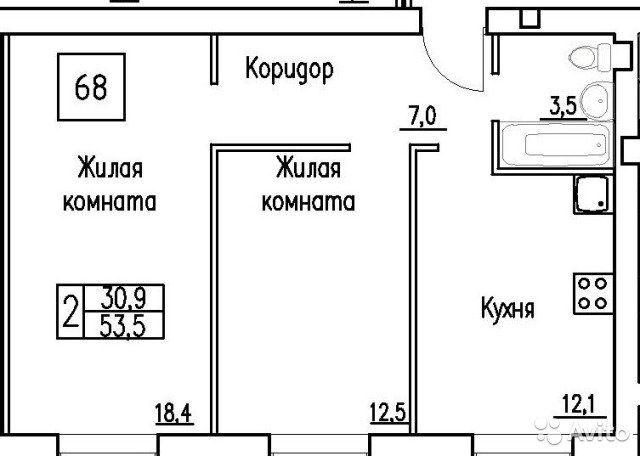 2-к квартира, 53.5 м², 1/3 эт.