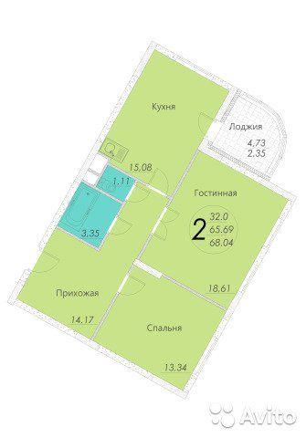2-к квартира, 67.9 м², 20/22 эт.