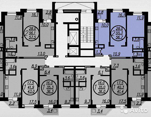 2-к квартира, 56.7 м², 10/17 эт.