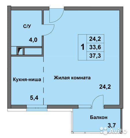 1-к квартира, 33.6 м², 2/8 эт.