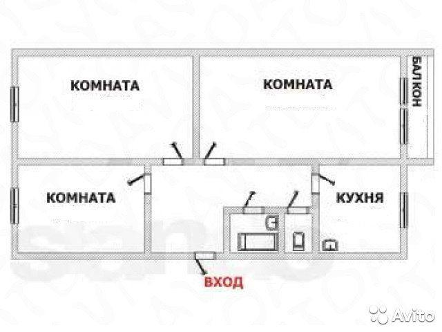 3-к квартира, 65.1 м², 4/5 эт.