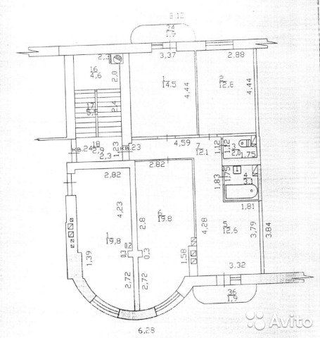 3-к квартира, 76.9 м², 6/6 эт.