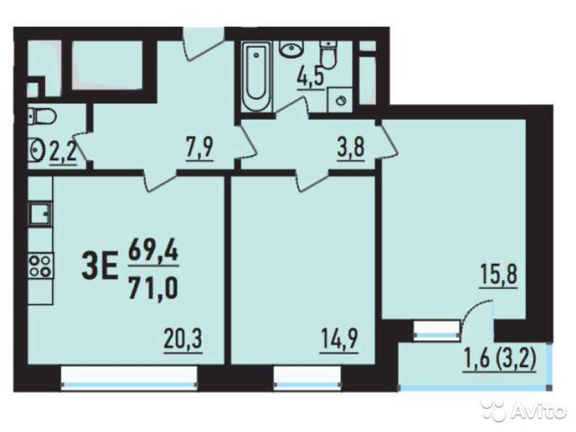 3-к квартира, 71 м², 4/14 эт.
