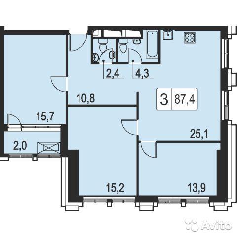 3-к квартира, 89 м², 38/45 эт.