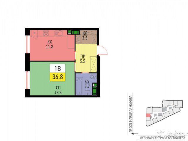 1-к квартира, 37 м², 4/28 эт.