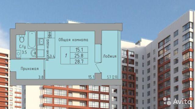 1-к квартира, 28.7 м², 7/16 эт.