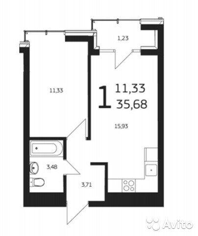 1-к квартира, 35.7 м², 10/25 эт.