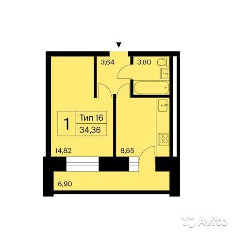 1-к квартира, 34 м², 8/14 эт.