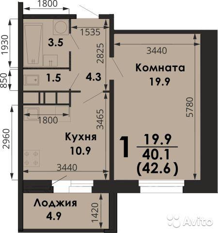 1-к квартира, 42.4 м², 10/17 эт.