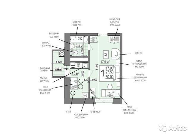 1-к квартира, 30 м², 16/18 эт.