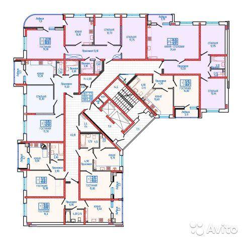 2-к квартира, 78.5 м², 10/18 эт.