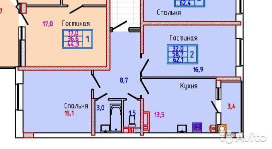 2-к квартира, 62.4 м², 11/18 эт.