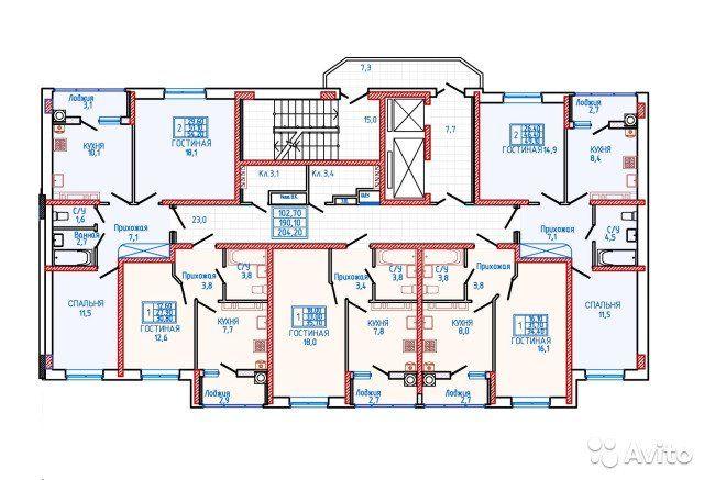 2-к квартира, 55.1 м², 10/18 эт.