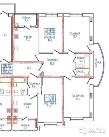3-к квартира, 86 м², 16/18 эт.