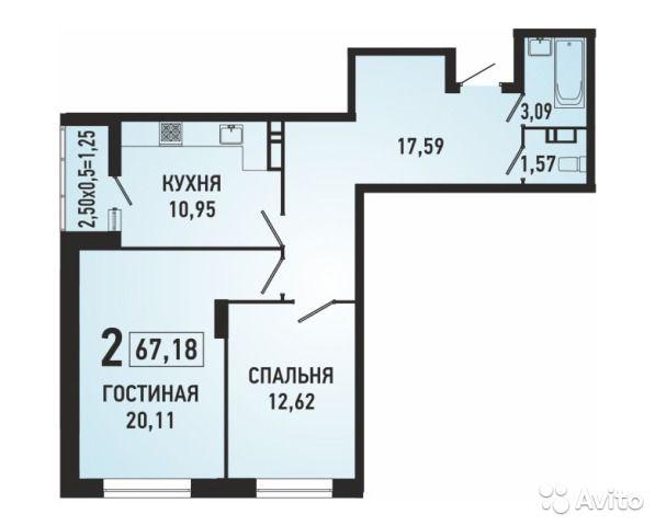 2-к квартира, 67.2 м², 7/24 эт.