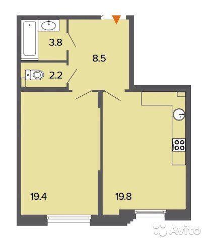 1-к квартира, 54 м², 3/6 эт.