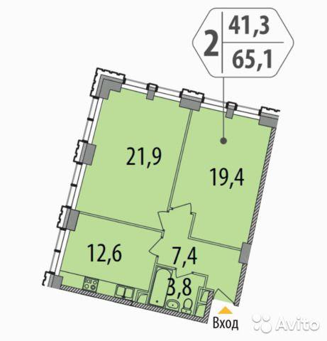 2-к квартира, 65.1 м², 5/17 эт.