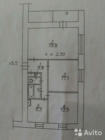 3-к квартира, 59 м², 1/9 эт.