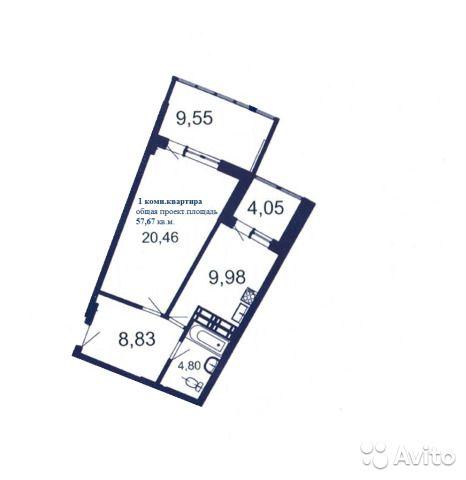 1-к квартира, 57.7 м², 14/16 эт.