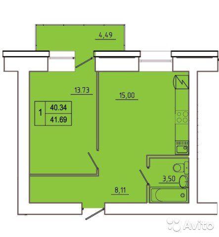 2-к квартира, 41.7 м², 5/14 эт.