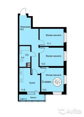 3-к квартира, 74.7 м², 18/24 эт.