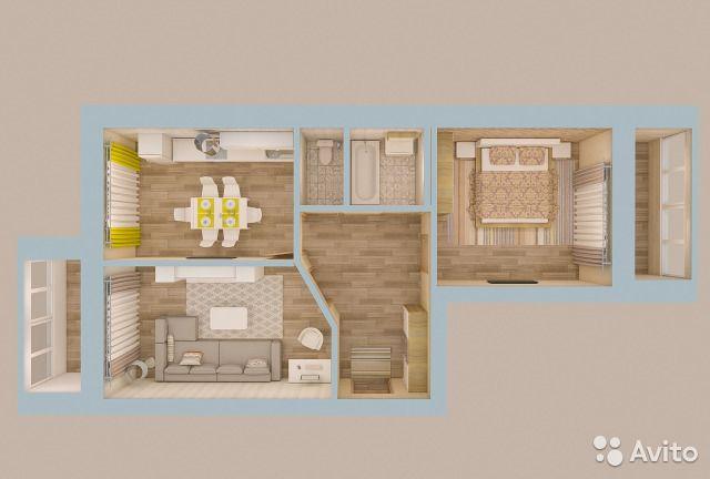 2-к квартира, 66.9 м², 4/10 эт.