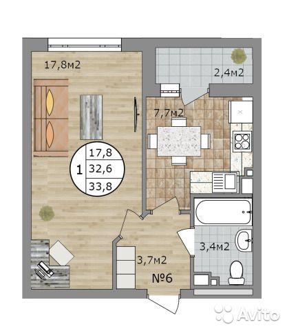 1-к квартира, 33.6 м², 19/24 эт.